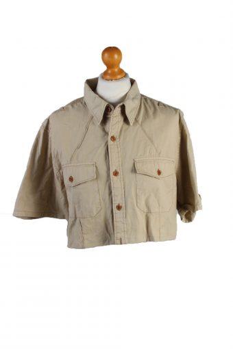 Ralph Lauren Womens Croped Top Shirt Short Sleeve Remake Cream L/XL