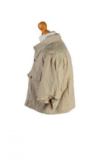 Vintage Ralph Lauren Womens Croped Top Shirt Short Sleeve L Cream CRTOP19-132281