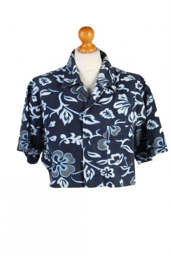 Womens Croped Top Shirt Short Sleeve Remake Fishbone Mid Blue M/L