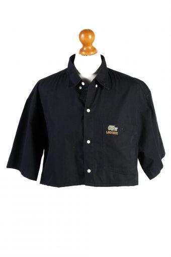 Lacoste Womens Croped Top Shirt Short Sleeve Remake Black L/XL