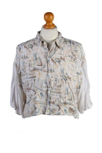 Ralph Lauren Womens Croped Top Shirt Short Sleeve Remake Beige M/L