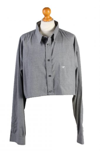 Mustang Womens Croped Top Shirt Long Sleeve Remake Grey XL/XXL
