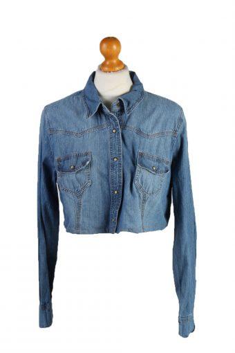 Womens Croped Top Denim Shirt Long Sleeve Remake Mid Blue S/M