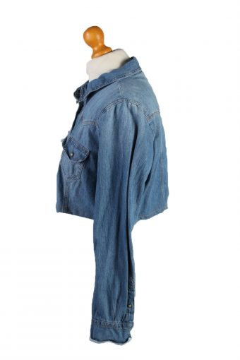 "Vintage Womens Croped Top Denim Shirt Long Sleeve Chest 42"" Mid Blue CRTOP29-132321"