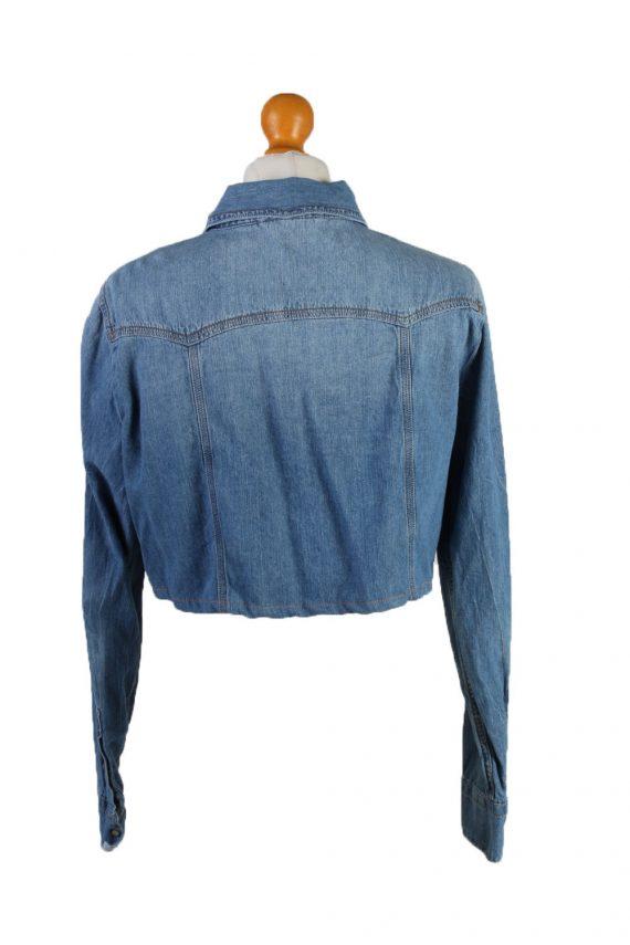 "Vintage Womens Croped Top Denim Shirt Long Sleeve Chest 42"" Mid Blue CRTOP29-132322"
