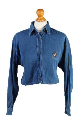 Womens Croped Top Denim Shirt Long Sleeve Ricci Capricci Remake Mid Blue S/M