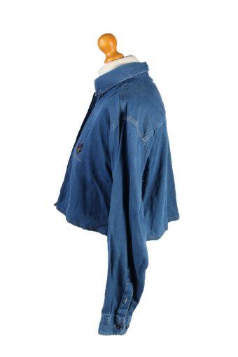 Vintage Ricci Capricci Womens Croped Top Denim Shirt Long Sleeve S Mid Blue CRTOP30-132325