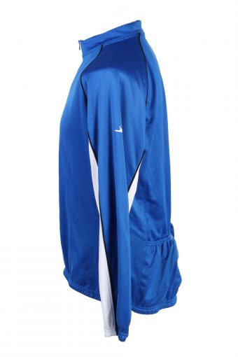 Vintage Shamp Unisex Cycling Jersey Long Sleeve Half Zip With Back Pockets Size L Blue CW0728-131821