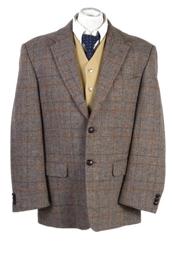 """Vintage Harris Tweed Walbusch Classic Windowpane Blazer Jacket Chest 47"""" Brown HT2801-0"""