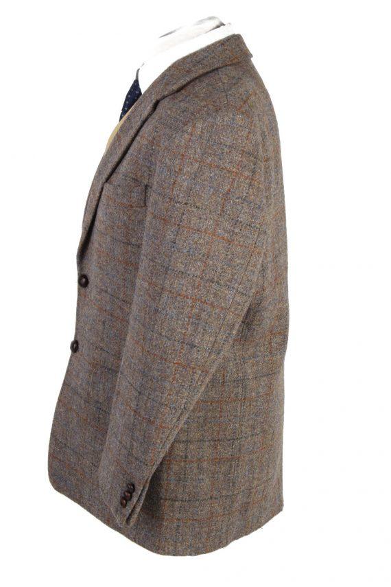 """Vintage Harris Tweed Walbusch Classic Windowpane Blazer Jacket Chest 47"""" Brown HT2801-130947"""