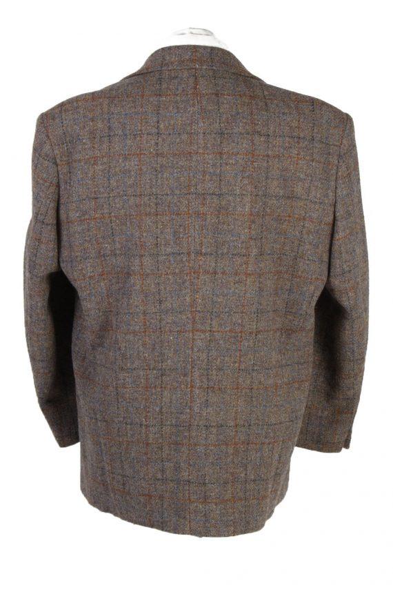 """Vintage Harris Tweed Walbusch Classic Windowpane Blazer Jacket Chest 47"""" Brown HT2801-130948"""