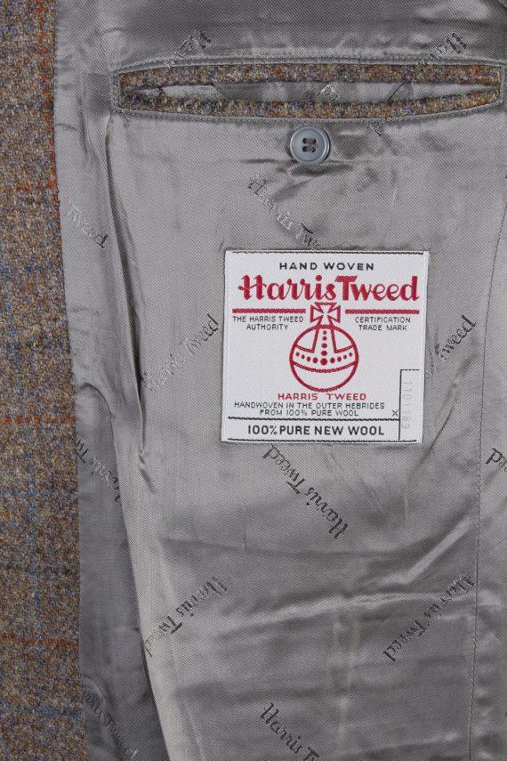 """Vintage Harris Tweed Walbusch Classic Windowpane Blazer Jacket Chest 47"""" Brown HT2801-130949"""