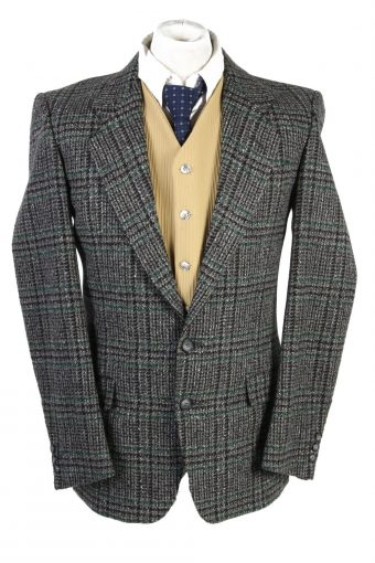 Men Tweed Blazer Jacket Vetanni Grey M