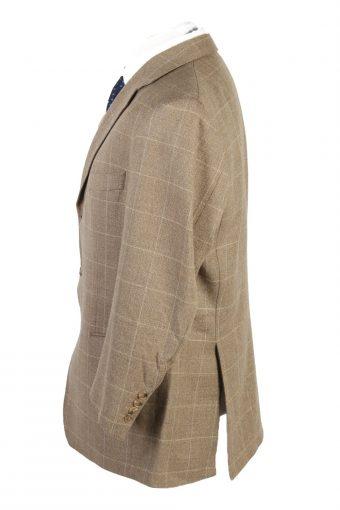 "Vintage Tweed Burberry Classic Windowpane Blazer Jacket Chest 48"" Cream HT2829-131059"