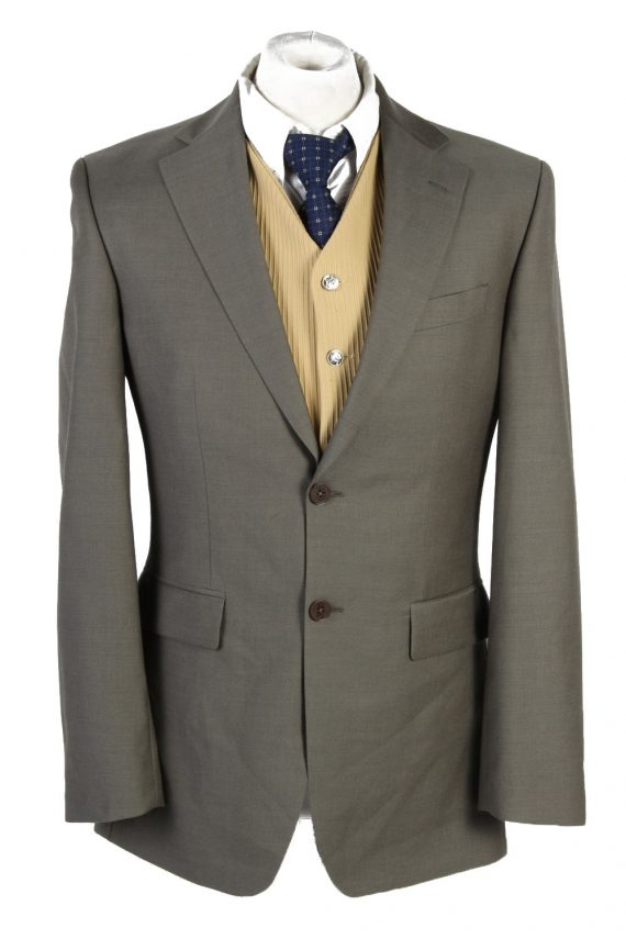 Mens Blazer Jacket Lined 100% Wool Slim Fit Size 38R Sage Green HT2837-0