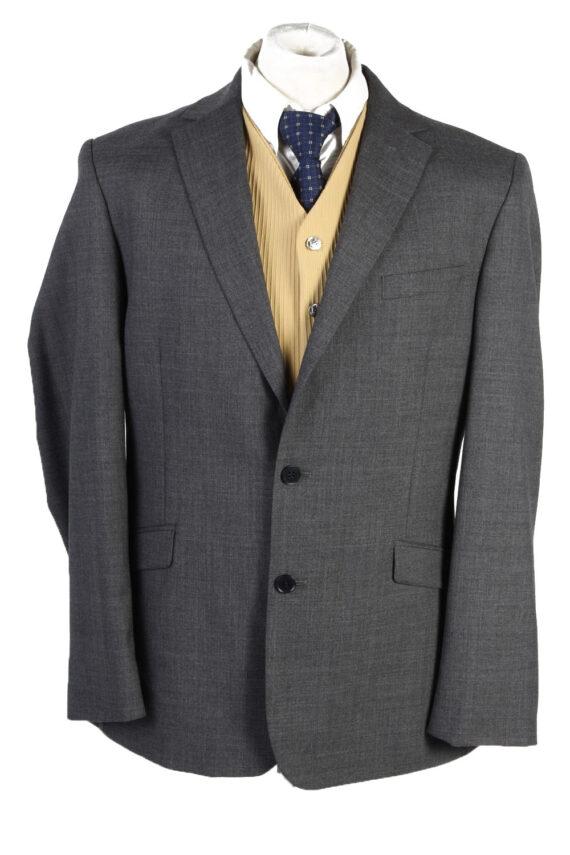 Mens Blazer Jacket Lined 100% Wool Slim Fit Size 44R Grey HT2839-0