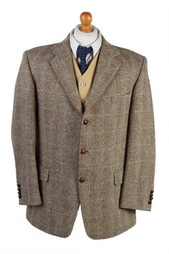 Harris Tweed Blazer Jacket Classic Windowpane Brown XL