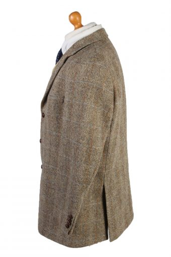 "Vintage Harris Tweed Blazer Jacket Classic Windowpane Chest 47"" Brown HT2854-133034"