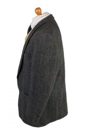 "Vintage Harris Tweed Blazer Jacket Classic Windowpane Chest 47"" Grey HT2856-133044"