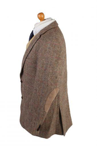 "Vintage Harris Tweed Blazer Jacket Classic Windowpane Chest 46"" Brown HT2861-133069"