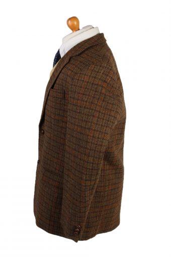 "Vintage Harris Tweed Blazer Jacket Classic Windowpane Chest 47"" Brown HT2862-133074"