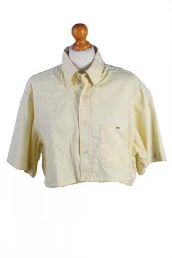 Lacoste Womens Croped Top Shirt Short Sleeve Remake Yellow L/XL