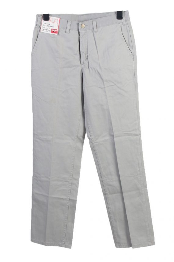 Vintage Mustang Club High Waist Unisex Chinos Trousers Jeans W32 L33 Light Grey J5013-0