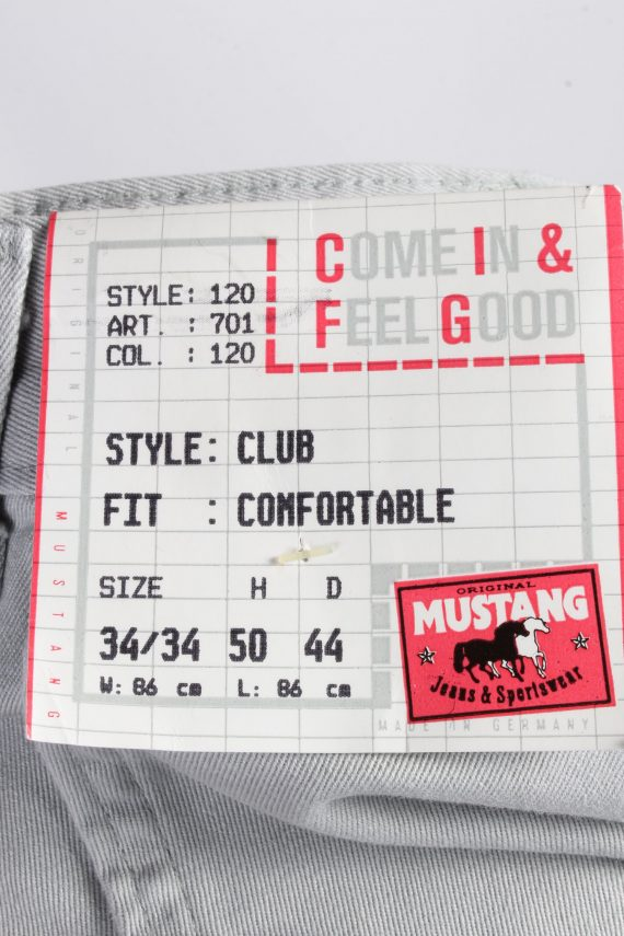 Vintage Mustang Club High Waist Unisex Chinos Trousers Jeans W32 L33 Light Grey J5013-130429