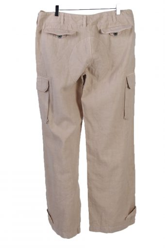 Vintage Polo Ralph Lauren Wide Leg Womens Linen Pants Slacks Trousers W36 L33 Cream J5122-130863