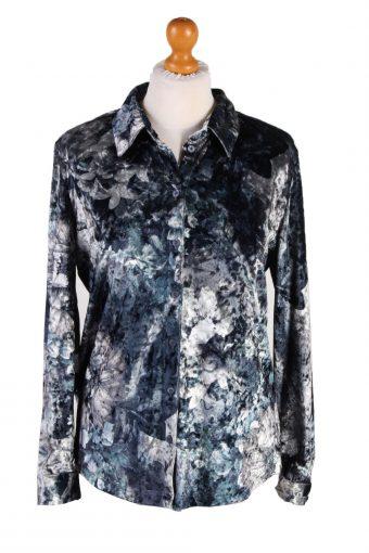Womens Velvet Shirt Blouse Long Sleeve 90s L