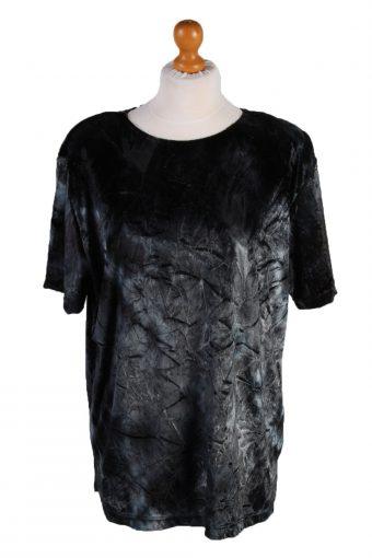 Womens Velvet Blouse Top Short Sleeve Grey M