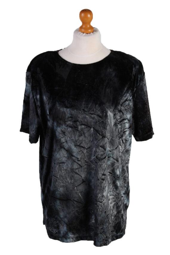 Vintage Womens Velvet Blouse Top Short Sleeve Size 40/42 Grey LB309-0