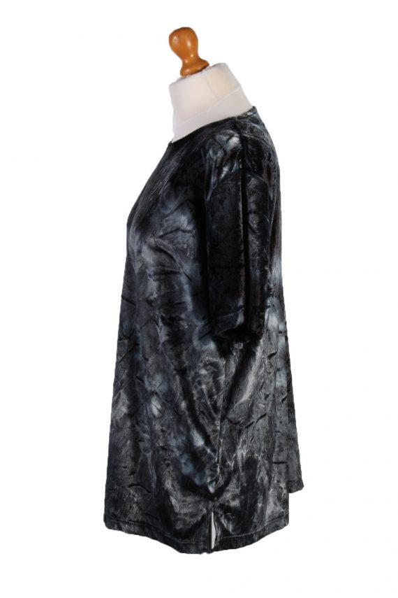 Vintage Womens Velvet Blouse Top Short Sleeve Size 40/42 Grey LB309-131648