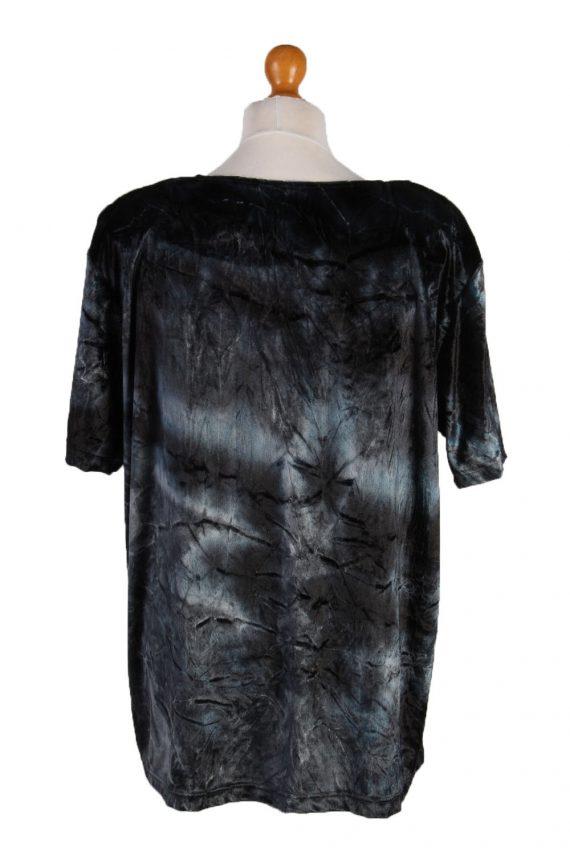 Vintage Womens Velvet Blouse Top Short Sleeve Size 40/42 Grey LB309-131649