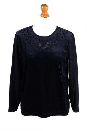 Womens Velvet Blouse Top Long Sleeve 90s Navy Blue M