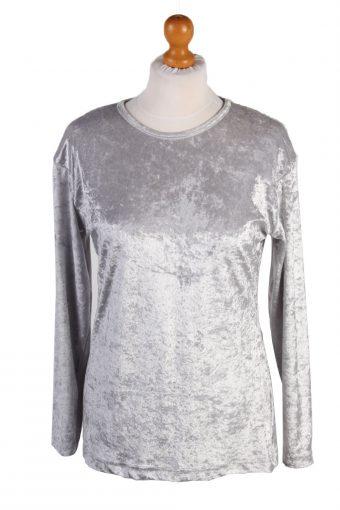 Womens Velvet Blouse Top Long Sleeve 90s Light Grey S