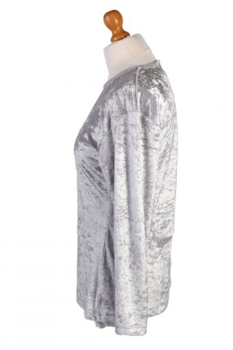Vintage Sweet Valley Womens Velvet Blouse Top Long Sleeve Size S Light Grey LB311-131656