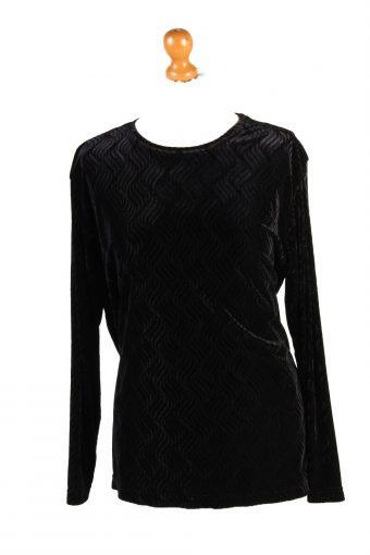 Womens Velvet Blouse Top Long Sleeve Black M
