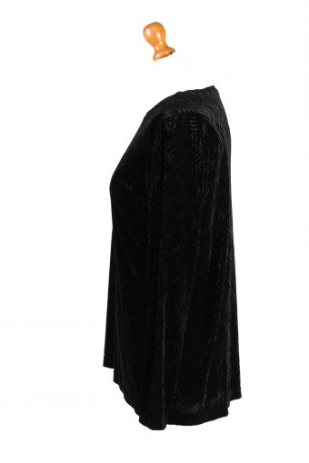 Vintage Womens Velvet Blouse Top Long Sleeve Size M Black LB314-131668