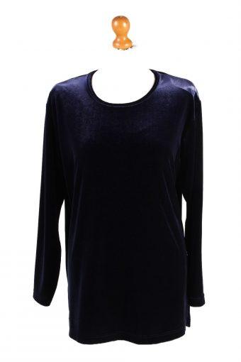 Womens Velvet Blouse Top Long Sleeve Navy Blue M