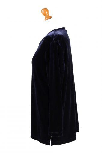 Vintage Womens Velvet Blouse Top Long Sleeve Size M Navy LB317-131680