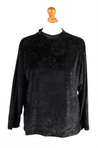 Womens Velvet Blouse Top Long Sleeve 90s Black S