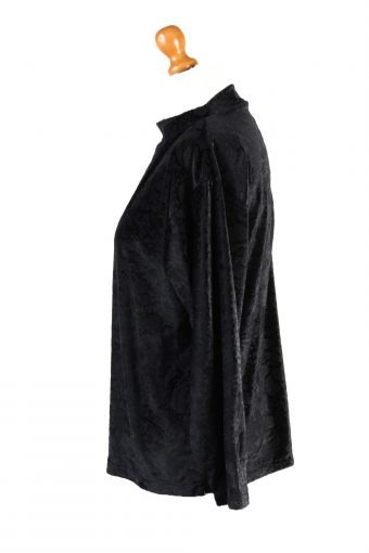 Vintage Sweet Valley Womens Velvet Blouse Top Long Sleeve Size S Black LB318-131684