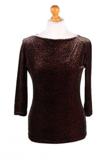 Womens Velvet Blouse Top Long Sleeve 90s Brown S
