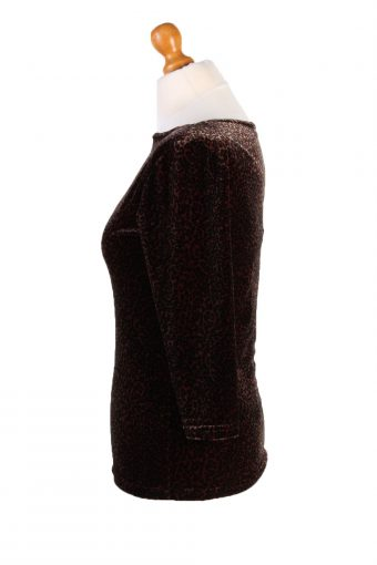 "Vintage Julie Guarlende Womens Velvet Blouse Top Long Sleeve Chest 36"" Brown LB319-131688"