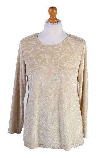 Womens Velvet Blouse Top Long Sleeve Beige M
