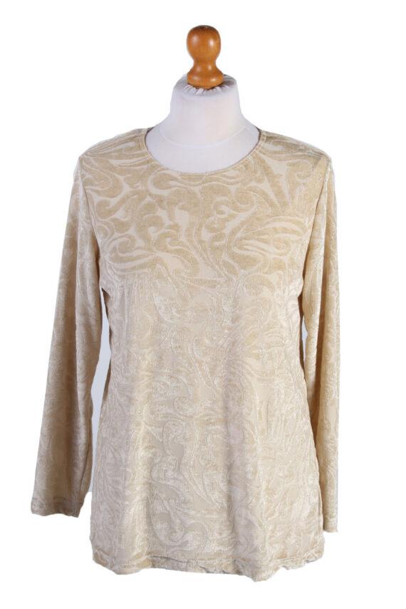 """Vintage Womens Velvet Blouse Top Long Sleeve Chest 40"""" Beige LB322-0"""