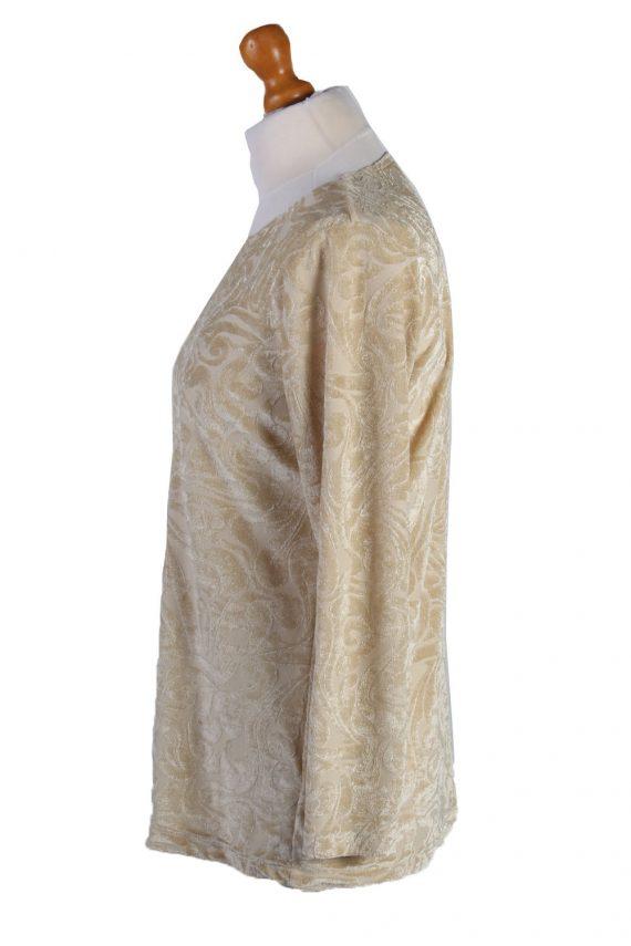"""Vintage Womens Velvet Blouse Top Long Sleeve Chest 40"""" Beige LB322-131700"""