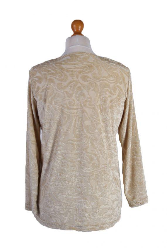 """Vintage Womens Velvet Blouse Top Long Sleeve Chest 40"""" Beige LB322-131701"""