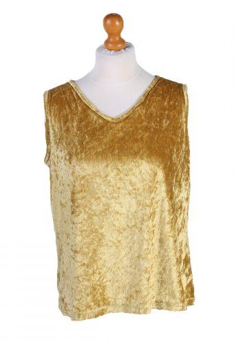 Womens Velvet Vest Waistcoat Gilet Yellow L